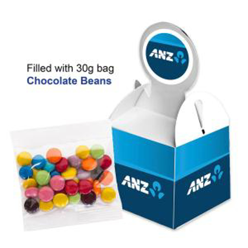 Picture of Billboard Cube with 30g unbranded bag of Corproate Coloured Jelly Beans