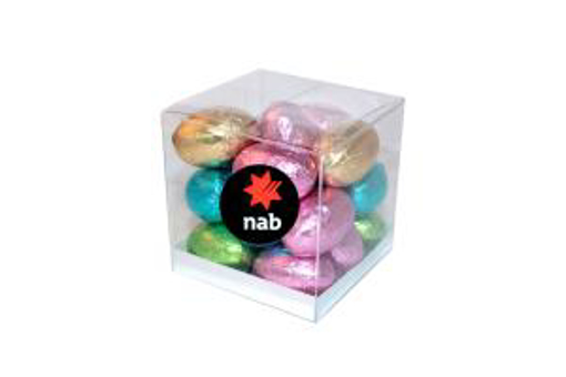 Picture of MINI SOLID EASTER EGGS IN a Clear Cube 160g