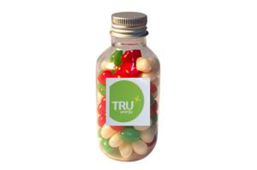 Picture of No Neck jar with Christmas Jelly beans with logo sticker