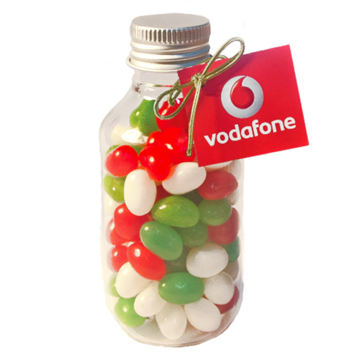 Picture of No Neck jar with Xmas Mini Jelly Beans  and Swing Tag