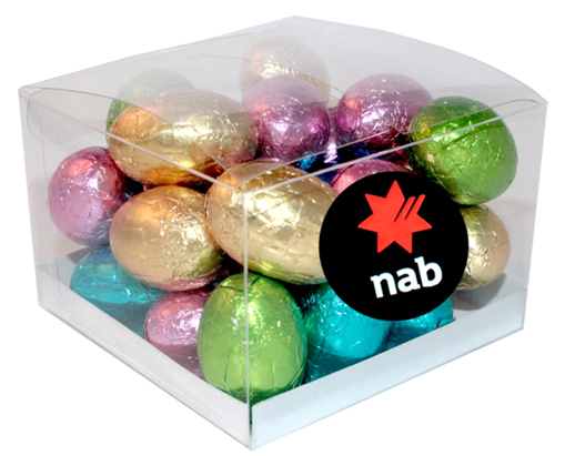 Picture of MINI SOLID EASTER EGGS IN a Clear Cube 220g